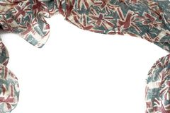 Decorative draping frame of the textile. Women`s scarf red figure the British flag Stock Photos