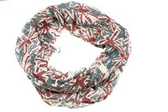 Decorative draping frame of the textile. Women`s scarf red figure the British flag Stock Photography