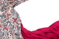 Decorative draping frame of the textile. Women`s scarf red figure the British flag. White background top view Royalty Free Stock Photography