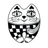 Decorative drawing funny cat. Stock Image