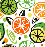 Decorative drawing seamless pattern with citrus fruit. Royalty Free Stock Images