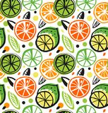 Decorative drawing seamless pattern with citrus fruits. Colorful tropical background. Stock Photos