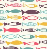 Decorative drawn pattern with fish. Seamless colorful vector background, baby fabric texture. Decorative drawn pattern with fish. Seamless colorful vector Royalty Free Stock Photos