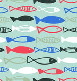 Decorative drawn pattern with funny fish  Seamless marine background Stock Photography