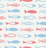 Decorative drawn pattern with funny fish  Seamless marine background. Fabric texture Royalty Free Stock Photography