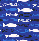 Decorative drawn pattern with funny fish  Seamless marine background. Fabric texture Stock Photography