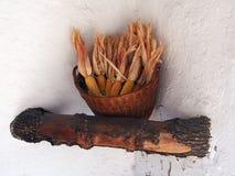 Decorative Dried Corn Cobs in Wicker Basket, Poble Espanyol, Barcelona, Spain. Decorative dried corn cobs and husks in wicker basket, Poble Espanyol (Pueblo Royalty Free Stock Photography
