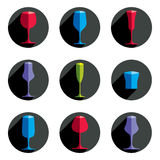 Decorative drinking glasses collection. Set of celebration goble Stock Photo