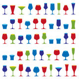 Decorative drinking glasses collection. Set of celebration goble. Ts, simple vector glassware, can be used in graphic and web design Stock Photos