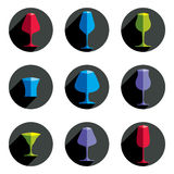 Decorative drinking glasses collection. Set of celebration goblets. Simple vector glassware, can be used in graphic and web design Royalty Free Stock Image