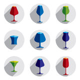 Decorative drinking glasses collection. Set of vector goblets, s. Imple glassware, can be used in graphic and web design Stock Photography