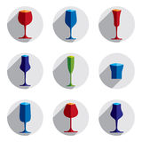 Decorative drinking glasses collection. Set of vector goblets, s. Imple glassware, can be used in graphic and web design Stock Photo