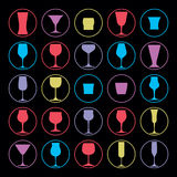 Decorative drinking glasses collection. Set of vector goblets Stock Photos