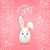 Easter rabbit on pink background with floral elements and eggs. Decorative Easter Bunny as egg with lettering Happy Easter isolated on white background vector illustration