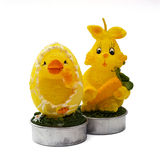 Decorative easter bunny and chick Royalty Free Stock Photos