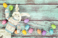 Decorative Easter bunny and eggs Royalty Free Stock Images