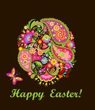 Decorative easter card with colorful floral egg Royalty Free Stock Photos