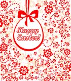 Decorative easter card with hanging egg Royalty Free Stock Photo