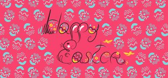 Decorative Easter composition hand drawn black on white background. Funny doodle from bunny, eggs with flowers, leaves. Greeting royalty free illustration