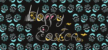 Decorative Easter composition hand drawn white font on black background. Funny doodle from bunny, eggs with flowers, leaves. vector illustration