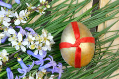 Decorative egg and flowers Royalty Free Stock Images