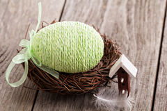 Decorative Easter egg in a nest Stock Photography