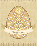 Decorative easter egg with ornamental background. Vector illustration Stock Images