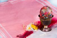 Decorative Easter egg in the silver cup Stock Photo