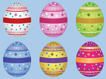 Decorative Easter eggs. Colorful decorative Easter eggs on light blue background Royalty Free Stock Photography