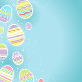 Decorative Easter eggs background - blue color. Royalty Free Stock Image