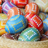 Decorative Easter eggs in a Basket Stock Photo