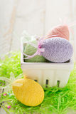Decorative Easter eggs in a basket Stock Photography