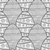 Decorative Easter eggs. Black and white seamless pattern coloring book. Stock Photo