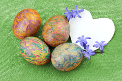 Decorative eggs and card Stock Image