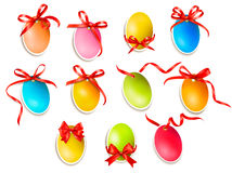 Decorative easter eggs.Easter cards with red bow a Stock Photo