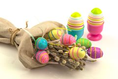 Decorative easter eggs in flax sack Stock Photo