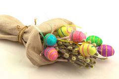 Decorative easter eggs in flax sack Stock Image