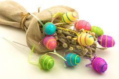 Decorative easter eggs in flax sack Royalty Free Stock Image