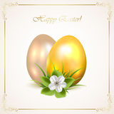 Decorative Easter eggs with flower Stock Photos