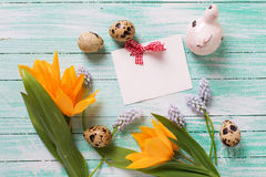 Decorative Easter eggs, flowers and empty tag on  turquoise wood Royalty Free Stock Images