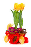 Decorative Easter eggs with flowers Royalty Free Stock Photos