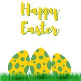 Decorative Easter eggs on green grass,  illustration Stock Photos