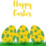 Decorative Easter eggs on green grass,  illustration Stock Photo