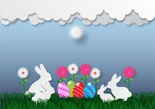 Decorative easter eggs on green grass and white cloud, vector illustration.  Royalty Free Stock Photography