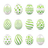 Decorative Easter eggs with green patterns Royalty Free Stock Photography