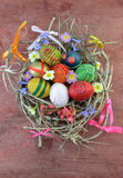 Decorative eggs in nest Royalty Free Stock Images