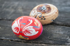 Decorative easter eggs in outdoor on wooden table Stock Photo