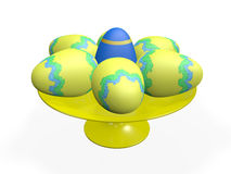 Decorative Easter Eggs on a Platter Stock Photos
