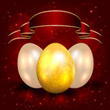 Decorative Easter eggs on red background Stock Images