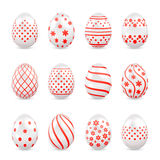 Decorative Easter eggs with red patterns Royalty Free Stock Photography